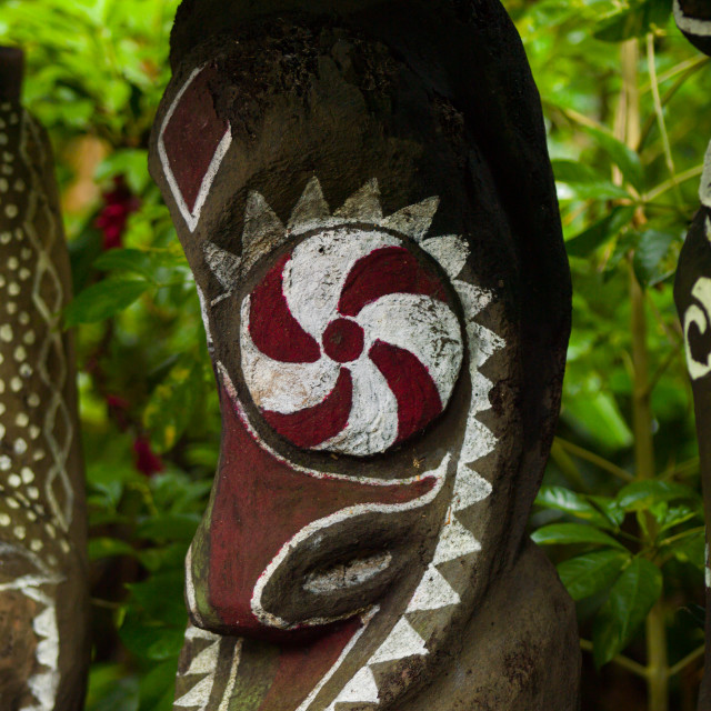 """""""Painted slit gong drums in the jungle, Ambrym island, Olal, Vanuatu"""" stock image"""