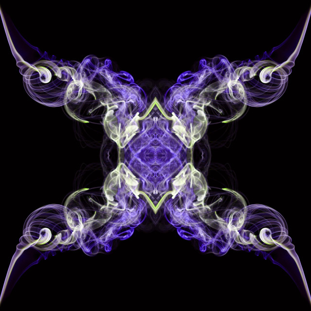 """Purple and ecru abstract twisted smoke isolated on black background, formed in circles"" stock image"