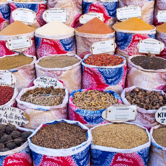 """""""Variety of spices and herbs on the market"""" stock image"""