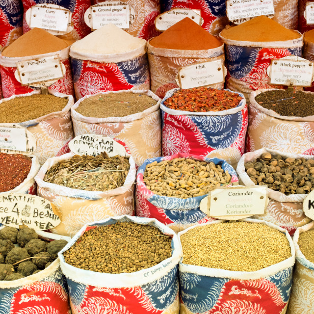"""Variety of spices and herbs on the market"" stock image"
