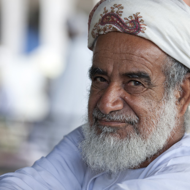 """Old Man In Traditional Costum, Sinaw, Oman"" stock image"