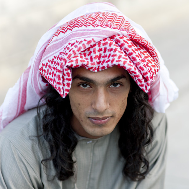 """Portrait Of Bedouin Man From Jebel, Salalah, Oman"" stock image"
