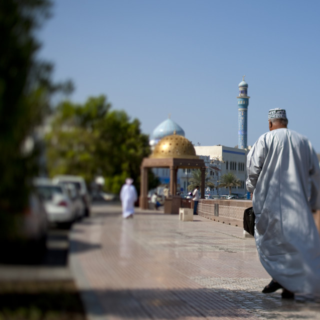 """Man Walking On The Corniche In Muscat, Oman"" stock image"