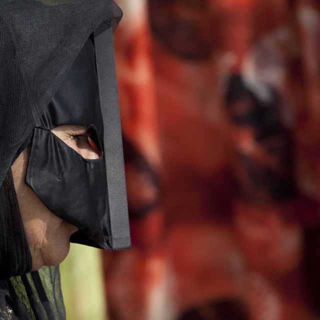 """Bedouin Masked Woman In Sinaw, Oman"" stock image"