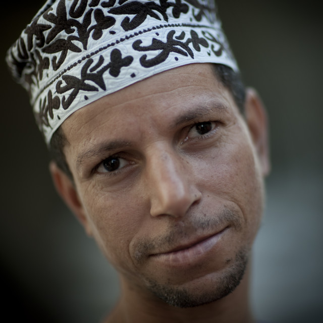 """Omani Man Wearing Arabesque Cap, Nizwa, Oman"" stock image"