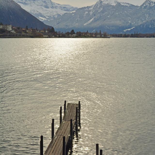 """""""Sunset Over Lake Geneva"""" stock image"""