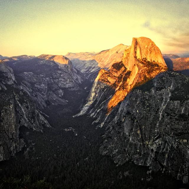 """Half Dome at Sunset"" stock image"