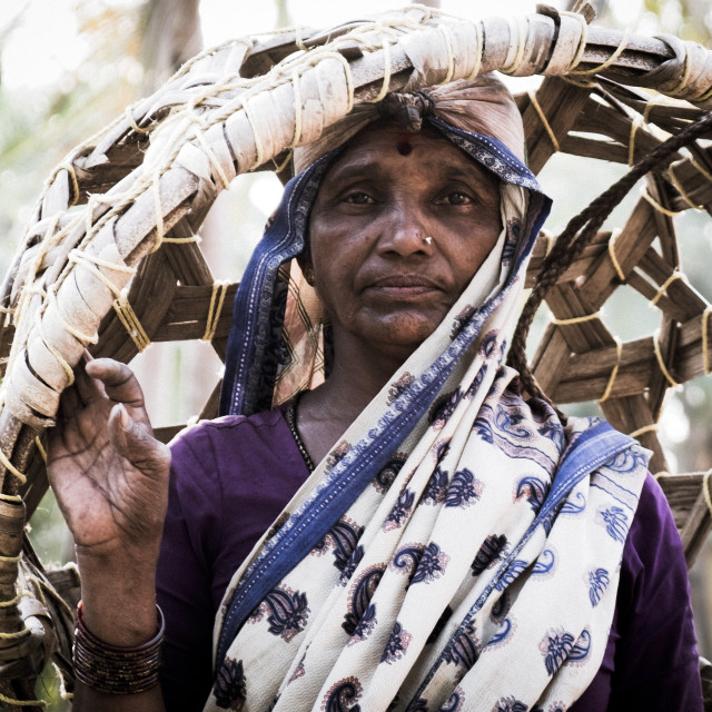 """""""Woman villager with basket - India"""" stock image"""