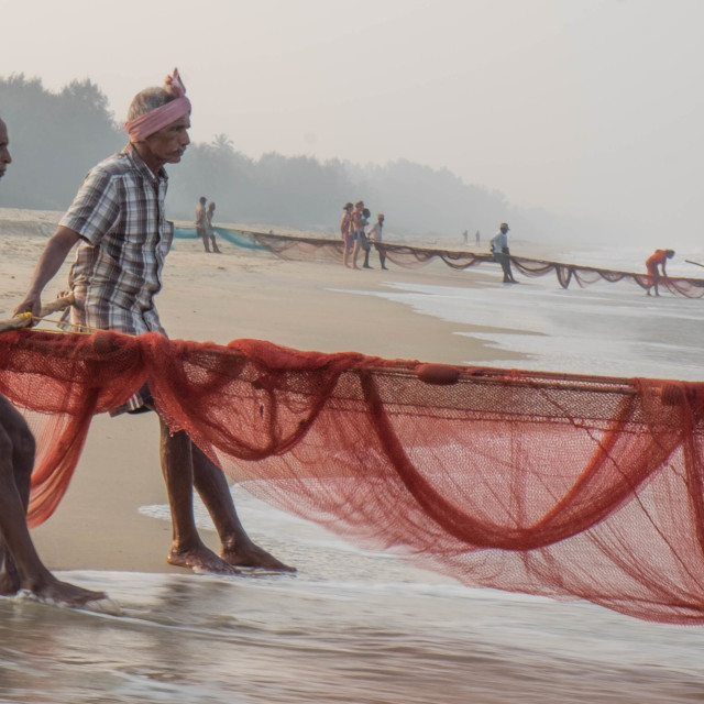 """""""Fishermen and their nets - India 1"""" stock image"""