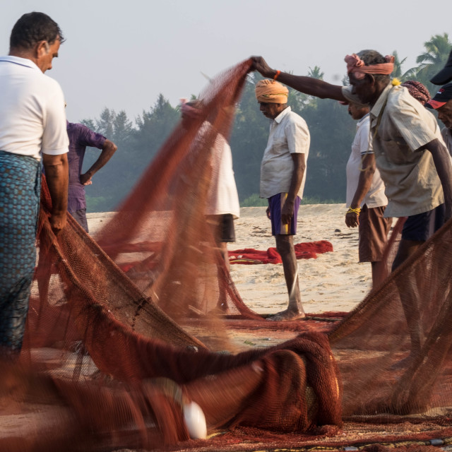 """""""Fishermen on the beach with their nets - India 1"""" stock image"""