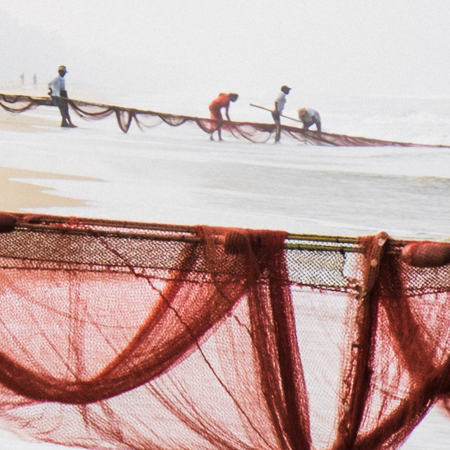"""""""Fishermen and their nets - India 2"""" stock image"""