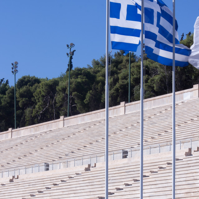 """Greek Flags at the Panathenaic Stadium"" stock image"