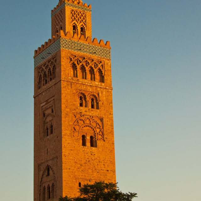 """Koutoubia Mosque tower at sunset"" stock image"