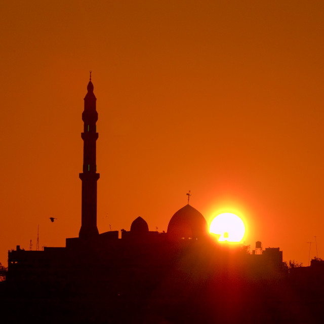 """Jisr Az-Zarqa The Mosque at sunrise"" stock image"