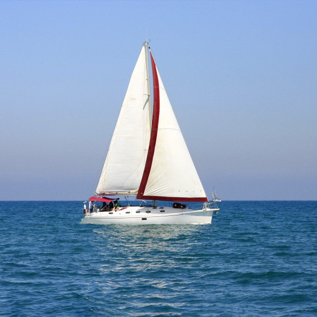 """""""A yacht in the Mediterranean sea"""" stock image"""