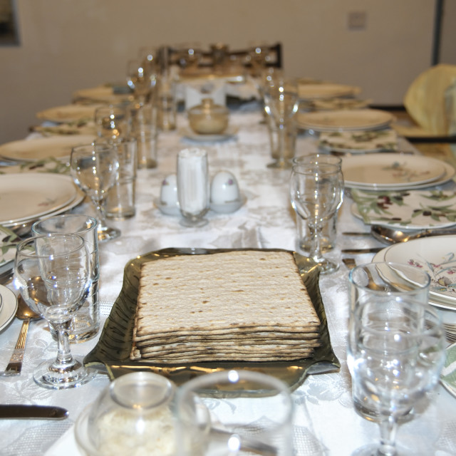 """""""Table set for a Jewish Festive meal on Passover"""" stock image"""