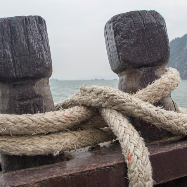 """""""Boat's cleats and rope"""" stock image"""