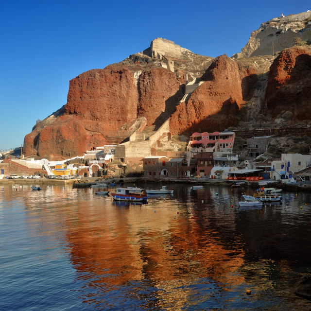 """Ammoudi harbor at Santorini"" stock image"