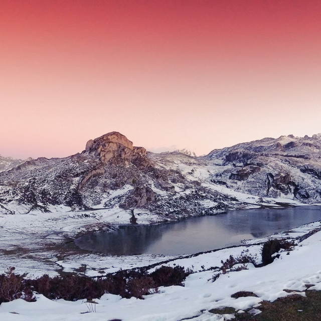 """""""Panoramic view of Lake Ercina with snow in Asturias."""" stock image"""