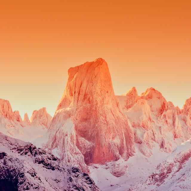"""Naranjo de Bulnes at dawn in Picos de Europa."" stock image"