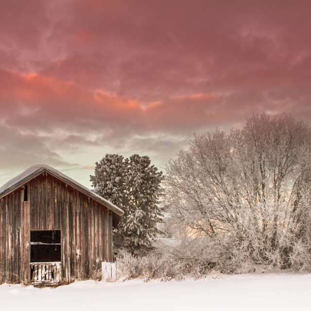 """""""Cottage in the snow"""" stock image"""