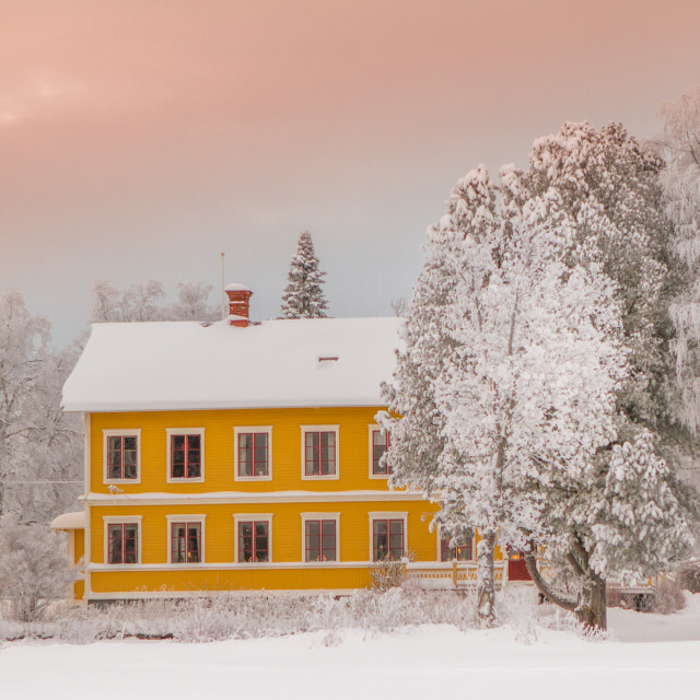 """""""House in the swedish snow"""" stock image"""