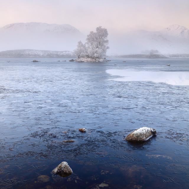 """""""Glencoe Misty Winter Sunrise"""" stock image"""