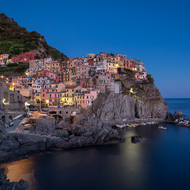 """Manarola at twilight"" stock image"