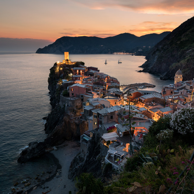 """A beautiful sunset in Vernazza, Italy"" stock image"