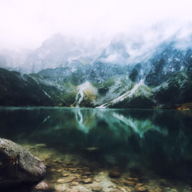 """""""autumn view of Morskie Oko lake, Zakopane in Poland,drawn or oil paint effect"""" stock image"""