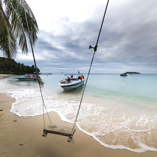 """The wooden swing is hung under a tree on the white sand tropical beach and blue sky located Phu Quoc Island. Vietnam"" stock image"