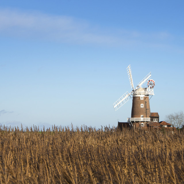 """Norfolk Coast Windmill at Cley"" stock image"