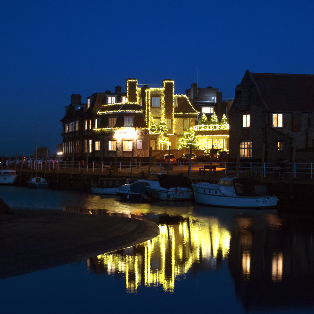 """Christmas lights on Blakeney Quay."" stock image"