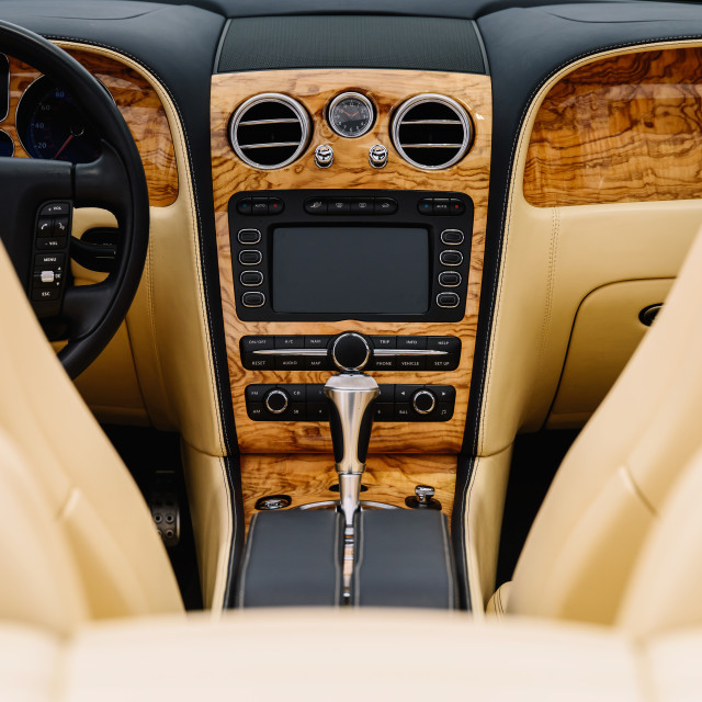 """""""Classic Car Interior With Dashboard View"""" stock image"""