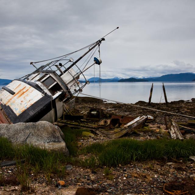 """""""Abandoned Fishing Boat on Wrangell Island, Alaska"""" stock image"""