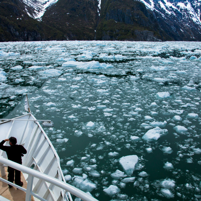 """""""Viewing a Glacier from a Boat"""" stock image"""