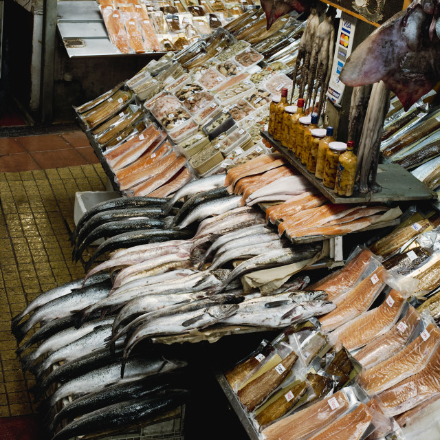 """""""Diversity of fresh & dried fish and seafood at Angelmo Fish Mark"""" stock image"""