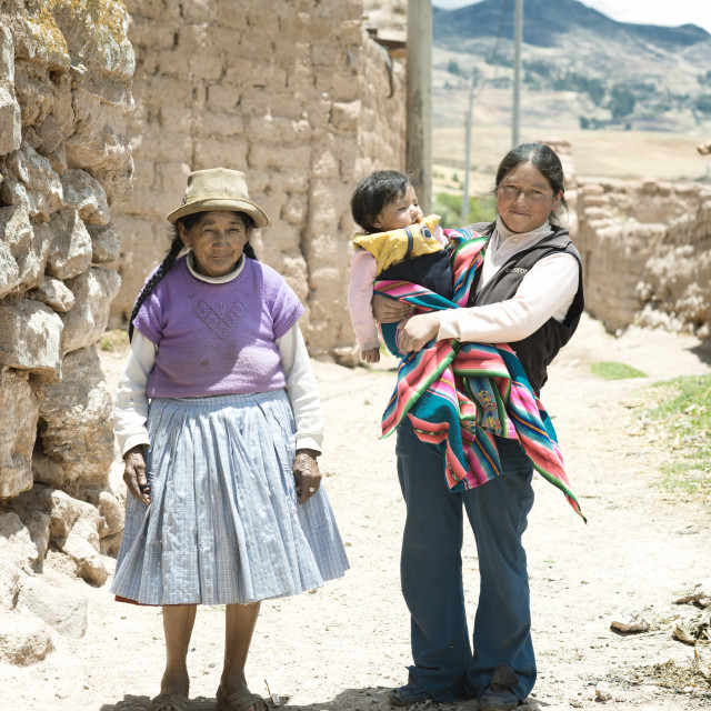 """Quechua family - three generations of native Peruvian women. Oct"" stock image"