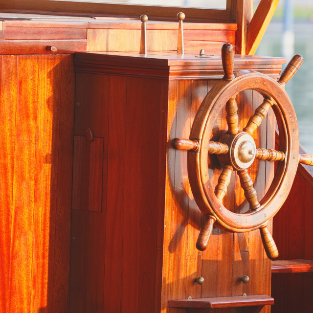 """Ship Steering Wheel"" stock image"
