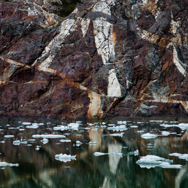 """""""Glacial Rocks Reflecting in Icy Waters"""" stock image"""