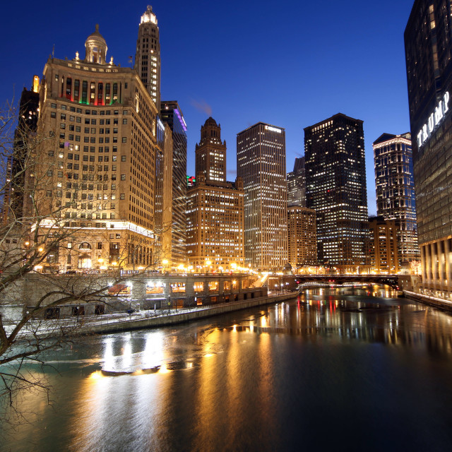"""Chicago River from DuSable Bridge"" stock image"