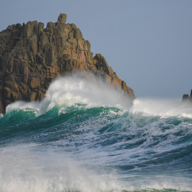 """Waves at Porthcurno"" stock image"
