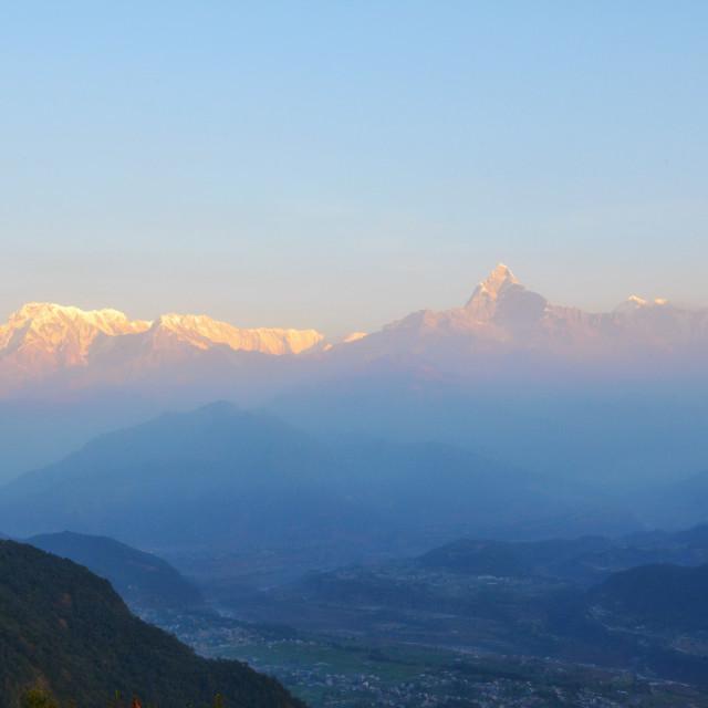 """Sunrise at the Himalayan mountain range"" stock image"