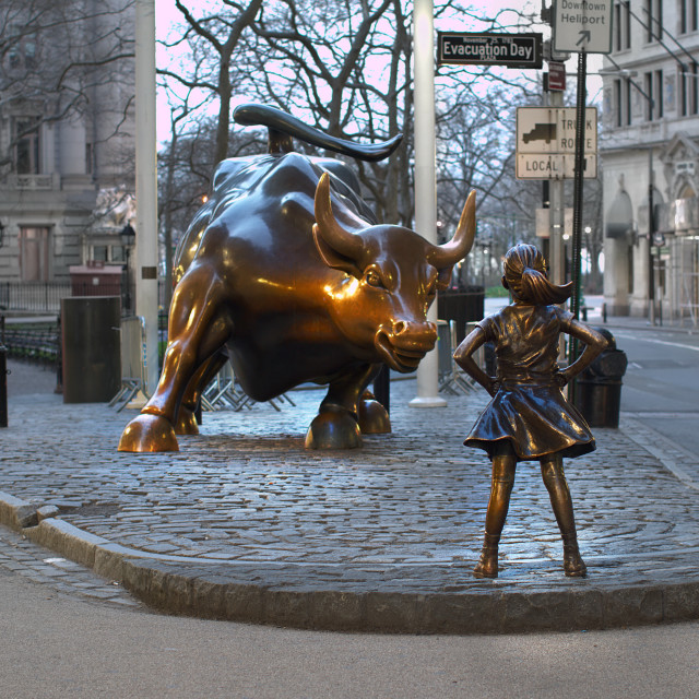 """Charging Bulls vs Fearless Girl"" stock image"