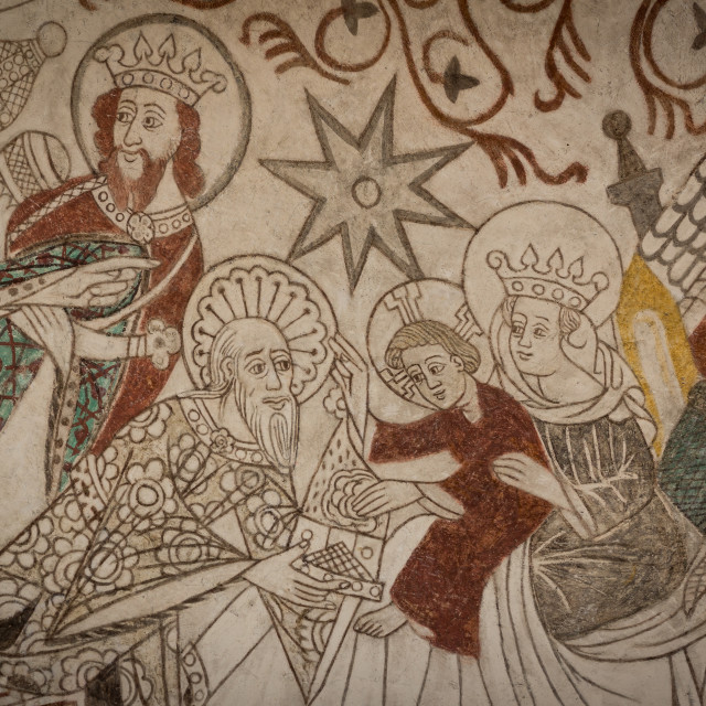 """""""The Holy Kings give their gifts to the christchild"""" stock image"""
