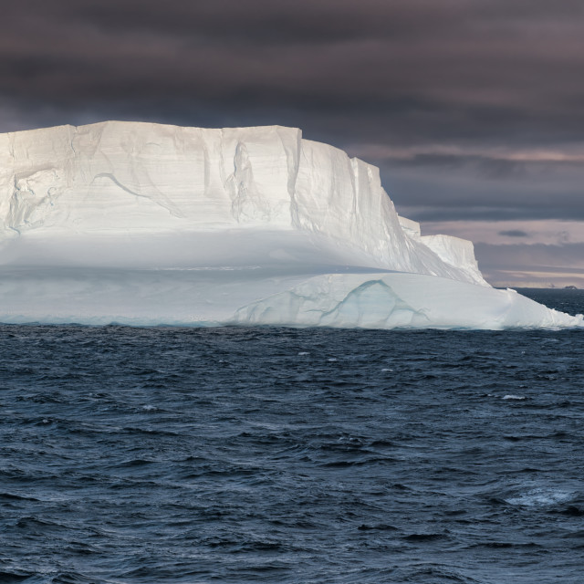 """Huge Tabular Iceberg floating in Bransfield Strait at sunset"" stock image"