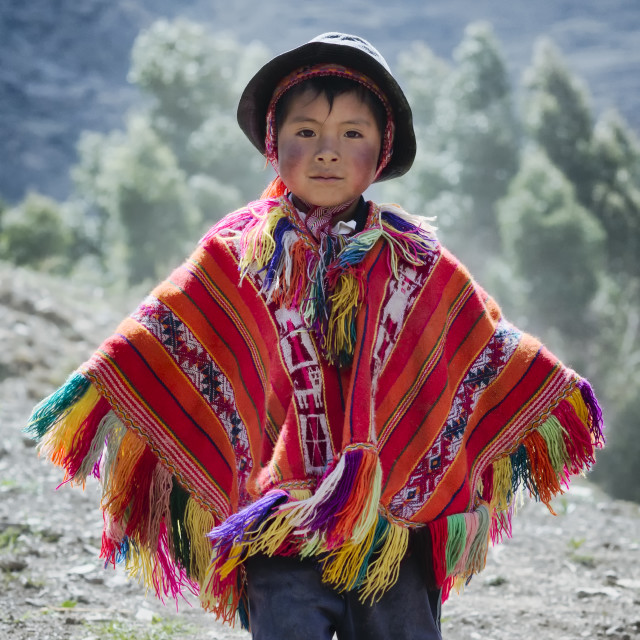 """""""Peruvian boy dressed in colourful traditional handmade outfit"""" stock image"""