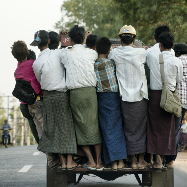"""""""Overcrowded pickup truck on a highway in Yangon"""" stock image"""