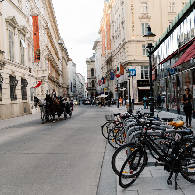 """Street scene in historical city center of Vienna"" stock image"
