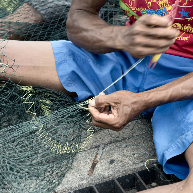 """Craftsman Making Fish Nets in Probolinggo, East java, Indonesia"" stock image"